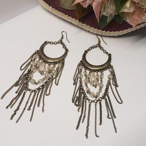 Gorgeous Vintage Beaded & Chain Dangle Earrings